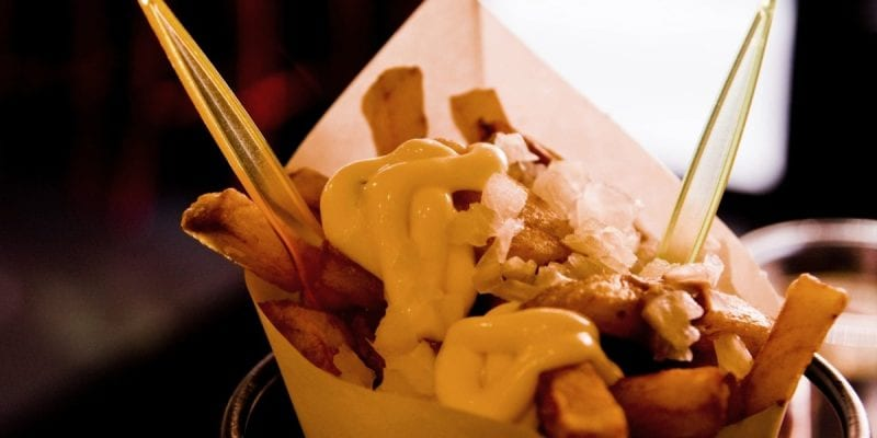 Amsterdam French fries come with a variety of toppings